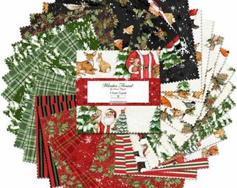 Winter Forest 10-Inch Squares Layer Cake, Susan Winget, Wilmington Prints, Cotton Quilt Fabric, Christmas Fabric