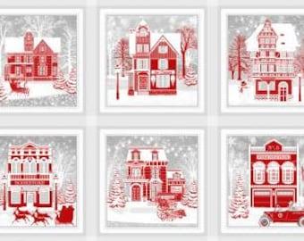 Holiday Lane Red/Grey 10-Inch Blocks, 6 Blocks, 24-Inch Repeat, Jan Shade Beach, Henry Glass, Cotton Quilt Fabric, Winter Fabric