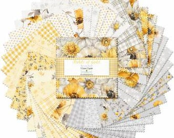 Fields of Gold 10-Inch Squares Layer Cake, 42 Pieces, Lisa Audit, Wilmington Prints, Cotton Quilt Fabric, Floral Fabric