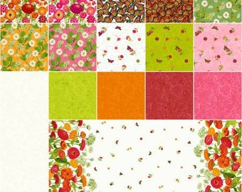 Jelly Roll, Zinnias in Bloom 2 1/2 Inch Strips Precut Quilting Fabric, Cotton Fabric, Floral Fabric, 40 Pieces, Sue Zipkin, Clothworks.