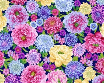 Gossamer Gardens Royal Large Floral Fabric Yardage, Color Principle Studio, Henry Glass, Cotton Quilt Fabric, Floral Fabric