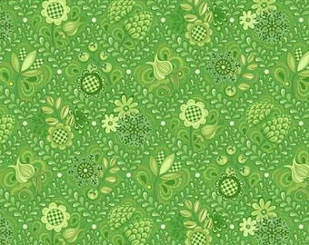 Remnant 1-1/2 Yards First Frost Lime Damask  Cotton Quilting Fabric, Floral Fabric, Winter Fabric, Amanda Murphy, Contempo Studio.