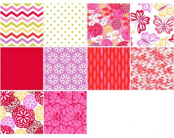 Maricella Fat Quarter Bundle, 5 Pieces, 3 Wishes Fabric, Precut Fabric, Quilt Fabric, Cotton Fabric, Modern Fabric, Chevron Fabric, Floral