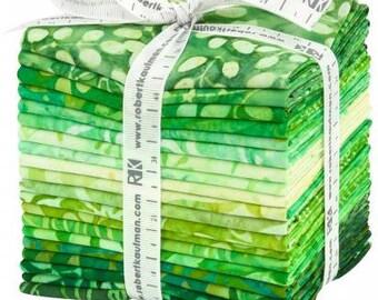 Artisan Batik Color Source 8 Green Fat Quarter Bundle, 20 Pieces, Robert Kaufman, Precut Fabric, Quilt Fabric, Cotton Fabric, Indoensian