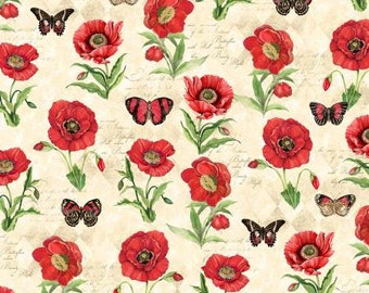 Remnant 1-Yard Harlequin Poppies Cream Poppies & Butterflies Fabric Yardage, Susan Winget, Wilmington Prints, Cotton Quilt Fabric, Floral