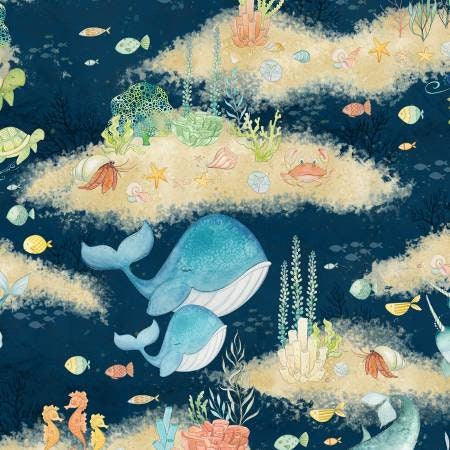 Fabric Whales Ocean Blue on Light Blue Cotton by the 1//4 yard