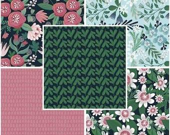 Garden Party Fat Quarter Bundle, 5pcs, The Craft Cotton Company. Precut Cotton Quilting Fabric, Floral Fabric