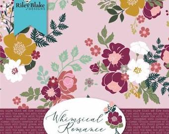 Whimsical Romance Fat Quarter Bundle, 18 Pieces, Keera Job, Riley Blake Designs, Cotton Quilt Fabric, Floral Fabric
