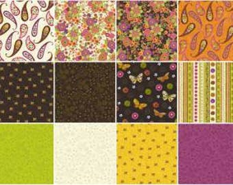 Spice Garden Fat Quarter Bundle, 17 Pieces, Sue Zipkin, Clothworks, Precut Fabric, Quilt Fabric, Cotton Fabric, Butterfly Fabric