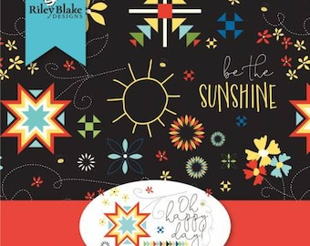 Oh Happy Day Fat Quarter Bundle, 34 Pieces, Sandy Gervais, Riley Blake Designs, Cotton Quilting Fabric