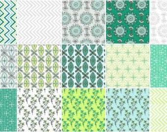 Emerald Sky Fat Quarter Bundle, 15 Pieces, Ellen Crimi-Trent, Clothworks, Precut Fabric, Quilt Fabric, Cotton Fabric, Modern Fabric, Chevron