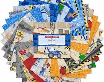 Building Dreams 10-Inch Squares Layer Cake, 42pcs, Jennifer Pugh, Wilmington Prints, Cotton Quilting Fabric, Construction Fabric