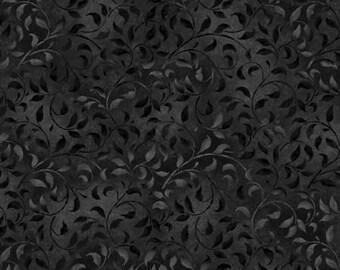 Remnant 3/4-Yard Essentials Basics Black Climbing Vine Fabric Yardage, Wilmington Prints, Cotton Quilt Fabric, Floral Fabric
