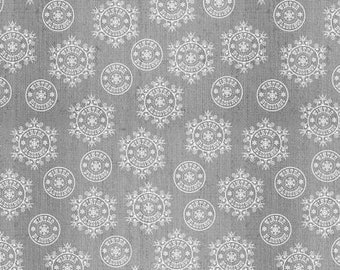 Winter Frost Gray Snowflake on Texture Flannel Fabric Yardage, Henry Glass, Jan Shade Beach, Flannel Fabric
