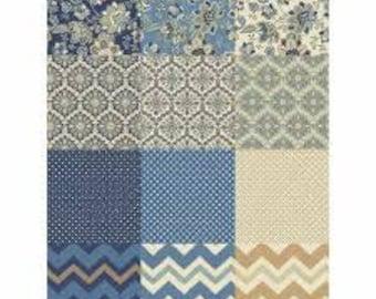 Isadora Fat Quarter Bundle, 16 Pieces, Windham Fabrics, Precut Fabric, Quilt Fabric, Cotton Fabric, Floral Fabric, Chevron Fabric