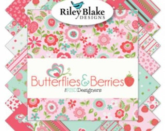 Butterflies & Berries 10 Inch Squares Layer Cake, 42 Pieces, Riley Blake Designs,  Precut Fabric, Quilt Fabric, Cotton, Butterfly Fabric