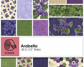 Arabella 2-1/2 Inch Strips Jelly Roll, 40 Pieces, Debbie Beaves, Maywood Studio, Precut Fabric, Quilt Fabric, Cotton Fabric, Pansy Fabric