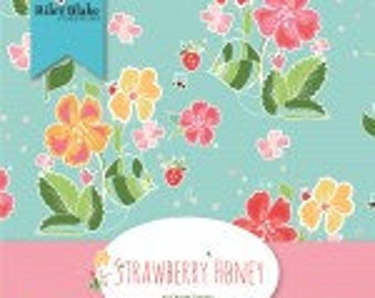 Strawberry Honey 5-Inch Squares Charm Pack, 42 Pieces,  Gracey Larson, Riley Blake Designs, Cotton Quilt Fabric, Floral Fabric