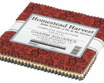 Homestead Harvest 5-Inch Squares Charm Pack, 42 Pieces, Julie Letvin Collection, Robert Kaufman, Precut Cotton Quilting Fabric