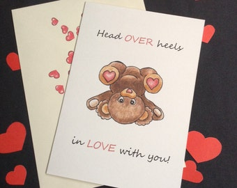 Head Over Heels In Love With You Valentine's Day Card.Hand Made Greeting Card.Hand Drawn Illustration.Teddy Bear.Love Cards.Valentines.