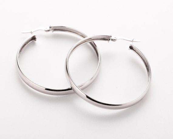Mia Diamonds 14k White Gold Polished 5mm Flat Hoops