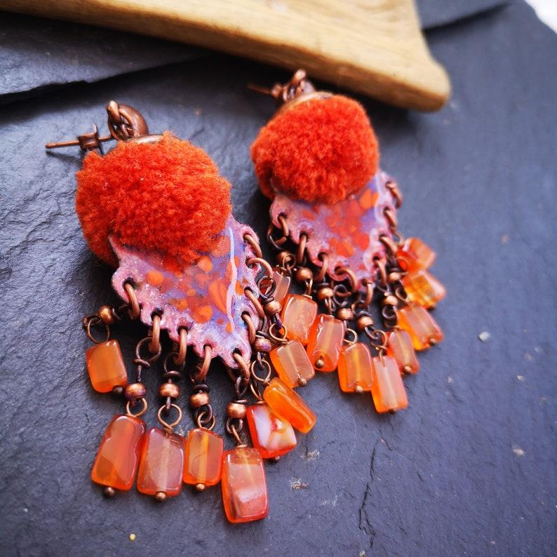 jewelry Orange earrings women gift enamel earrings creative long earrings enamels unique purple earrings tassel Carnelian