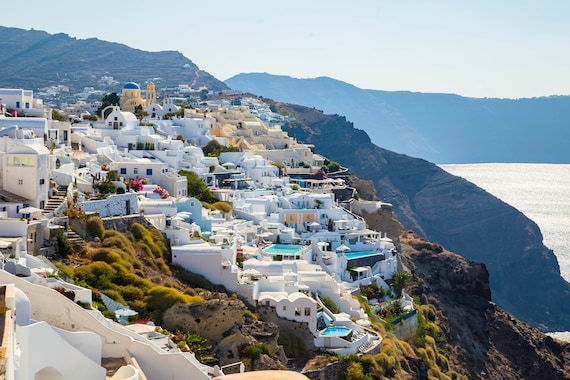 Santorini Greece Blue And White Collection Desktop Wallpaper Photo Instant Download Greek Islands Photo Digital Download Stock