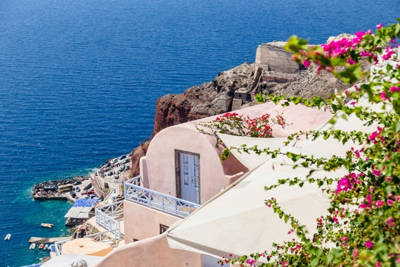 Santorini Greece Blue And White Collection Desktop Wallpaper Photo Instant Download Greek Islands Photo Digital Download