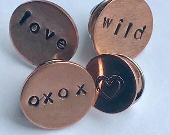 Copper Weird Pins, Love, Xoxo, Wild, Hearts