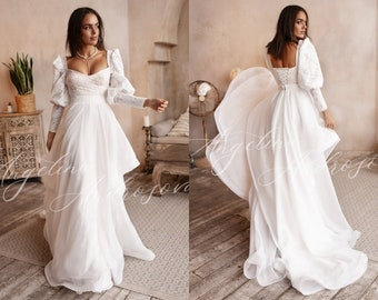 wedding dress Bridal dress organza and white lace drags satin Cathedral duchess MAGIC dress Wedding dress FRENCH manufacturing