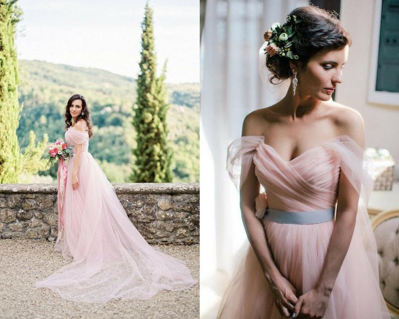 Blush wedding dress tulle romantic gown off shoulder wedding image 0