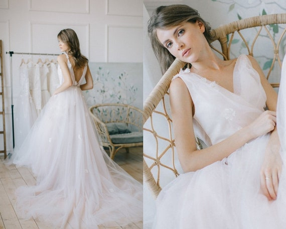 Floral sleeveless wedding gown, A line summer dress, long delicate wedding dress, bohemian style bride, tulle evening or ball dress