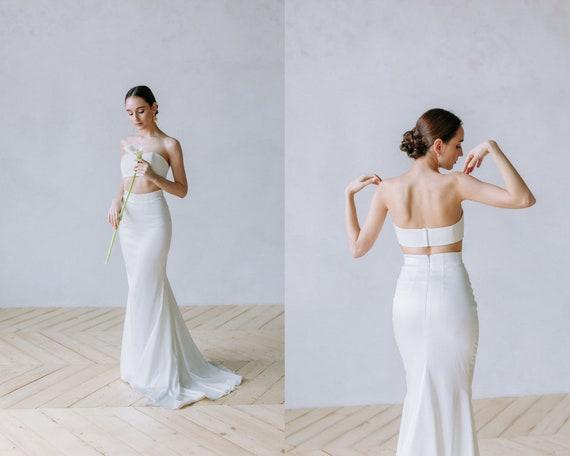 top skirt wedding wedding separates dress crop skirt two dress gown train hippie with sexy Bridal beach alternative wedding piece and wExp4Cnvq