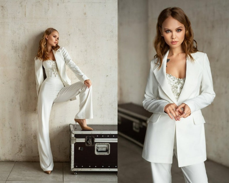 Alternative wedding dress, wedding white suit, modern bridal gown, minimalist wedding, reception gown, bridal corset, formal event suit