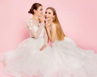 Embroidered wedding dress, couture wedding dress, embroidered flower wedding gown, unique wedding dress, modern dress / Lazurit