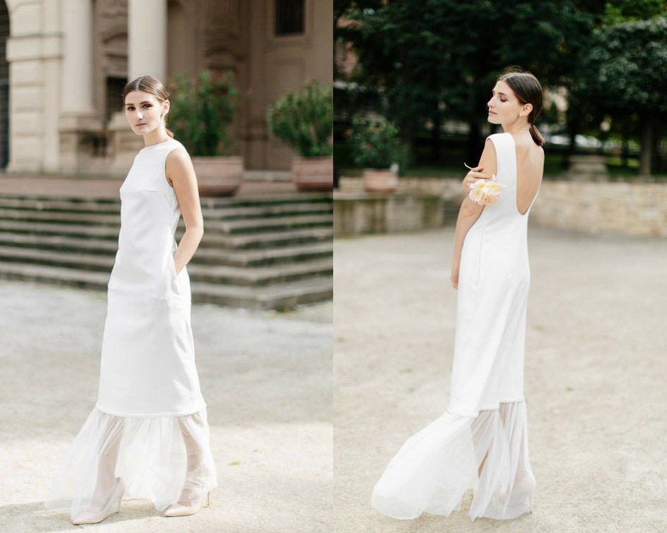 Unique Short Wedding Dress Simple Bridal Gown Modern And Etsy