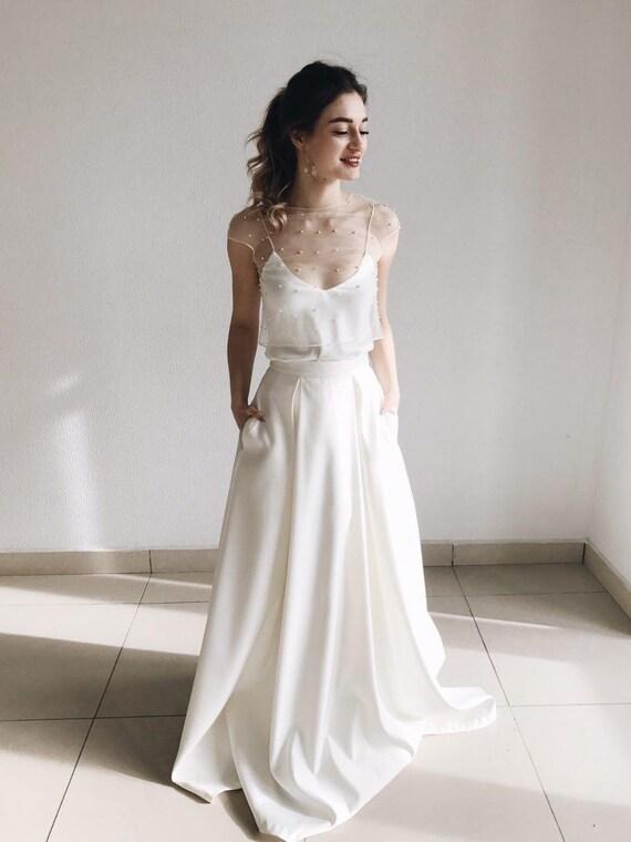 ivory romantic sleeveless minimalist maxi two rustic Boho piece dress wedding bridal gown beach wedding wedding dress dress separates ZzqP1xY