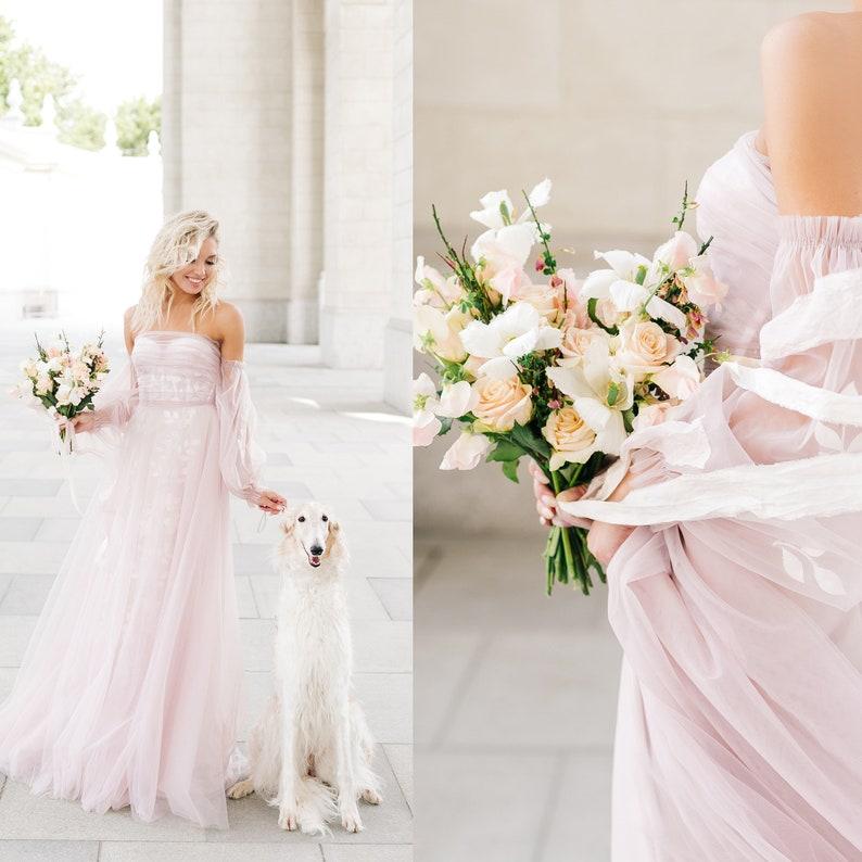 Blush pink wedding dress bohemian off shoulder dress tulle image 0