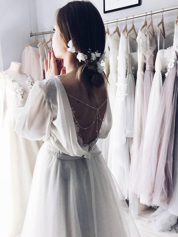 9ab3b24049208 Bridal back jewelry piece, bohemian wedding accessories, crystal wedding  back necklace, rhinestone body chain, open back wedding gown