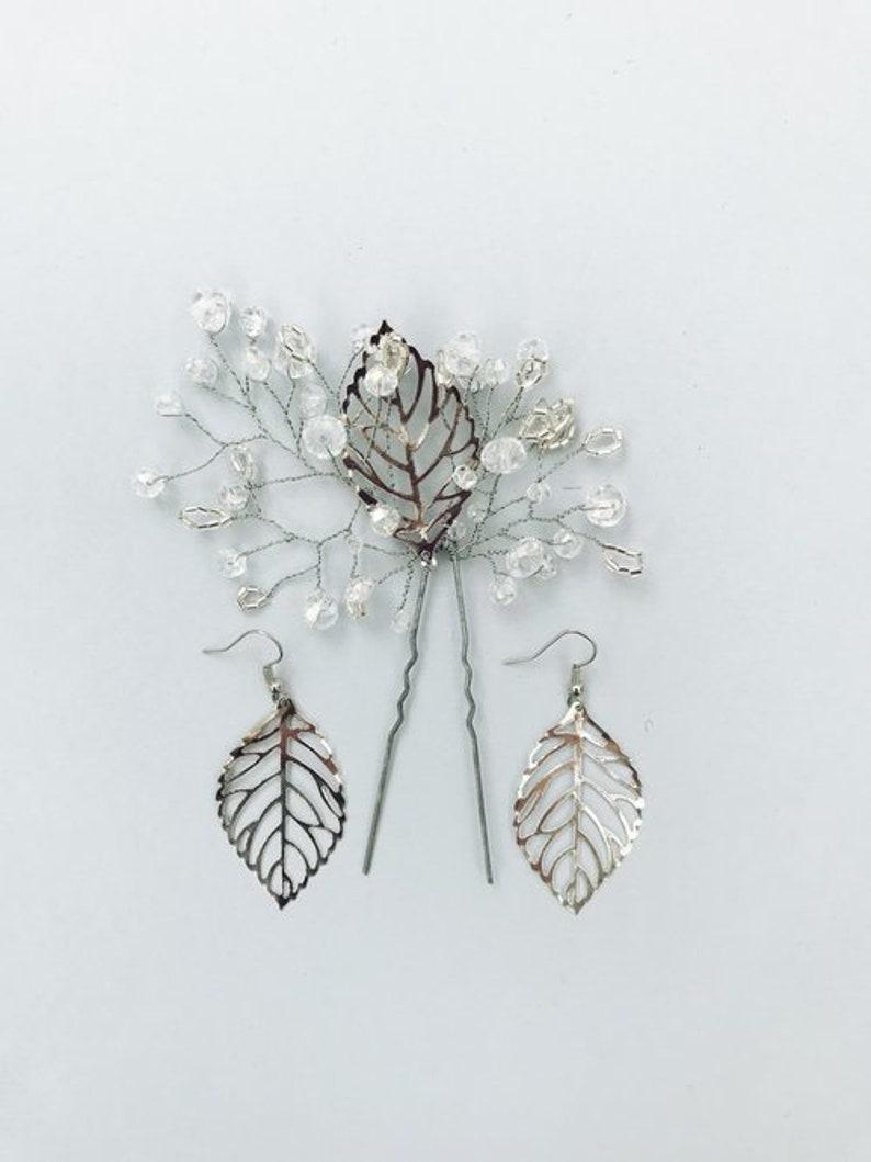 wedding headpiece dangle drop earrings Crystal bridal hair pin /& silver leaf earrings wedding boho jewelry delicate accessories