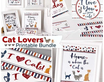 Cat Lovers Printable Kit | Cat Art & Cat Lover's Card Bundle | Instant Download