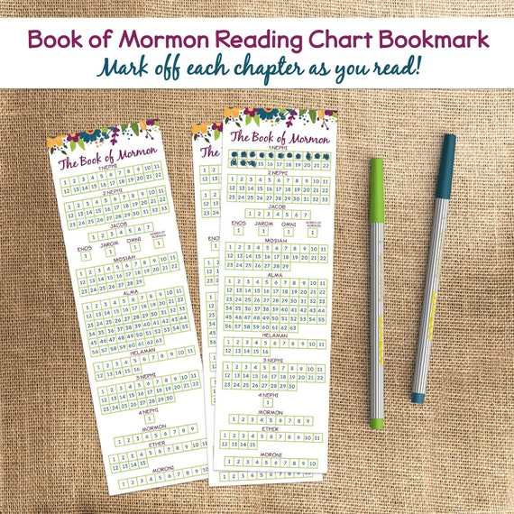 Book Of Mormon Reading Chart Bookmark Book Of Mormon Reading Checklist Bookmark Instant Download
