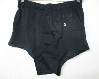 b7e063a96aa Vintage PLAYBOY Black Silky High Waist Men s Underwear Boxer Brief Shorts  Size Large