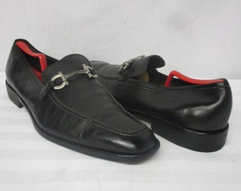 68d5760fbd1 Salvatore Ferragamo Metrone Black Leather Giancini Bit Loafers Size 15 New  Lifts