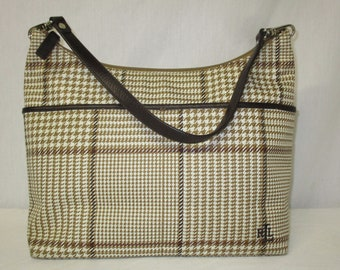 a80dd12773 LRL Lauren Ralph Lauren Plaid Houndstooth Herringbone Handbag Purse Purse