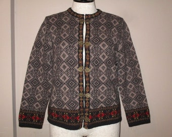 c656c267729 Vintage UNWORN Susan Bristol Nordic Fair Isle 100% Wool Pewter Clasp Ski  Cardigan Sweater Large