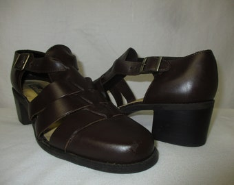 994a5010b5 Vintage Westies Brazil Brown Leather Chunky Heel Fisherman Sandals Shoes  Size 8.5