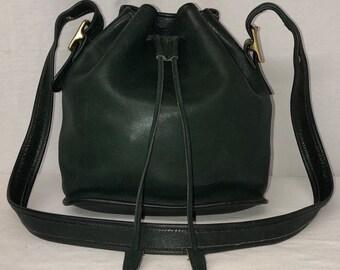 4b6a80ae9c7 Vintage Coach Lula's Legacy HUNTER GREEN Leather Drawstring Bucket Hobo Bag  9952