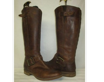 fc44434c7 Vintage Timberland Brown Oiled Leather Tall Riding Boots Size 8