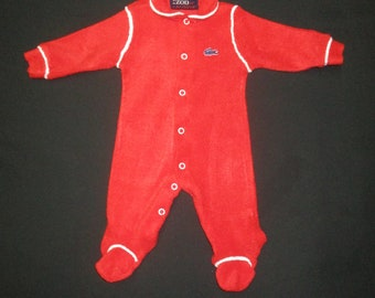 Vintage 60 s IZOD LaCoste Red Terry Cloth Footed Sleeper Pajamas Size 0-3  Months 1796b0892